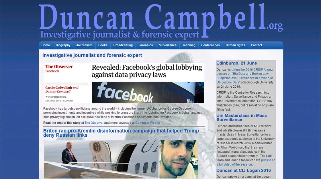 Duncan Campbell - investigative journalist. Web design by wedoweb.biz